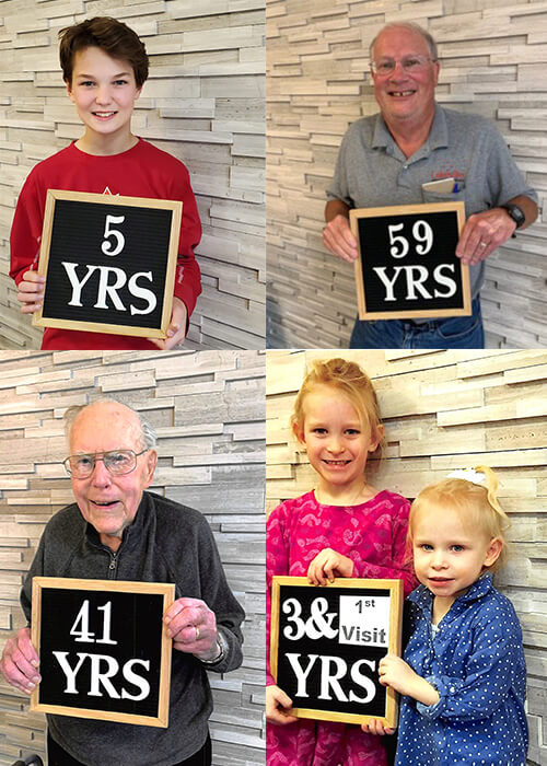 Collage of our amazing patients holding signs